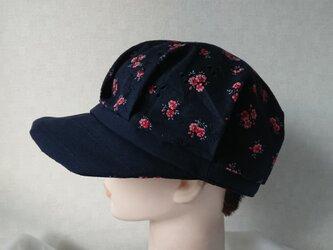 魅せる帽子☆【受注製作】軽くて涼しい♪アンティークレースのキャスケット~ネイビーの画像