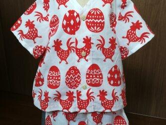 【手ぬぐいシャツ&パンツ】100サイズ・とり柄×グレーの画像