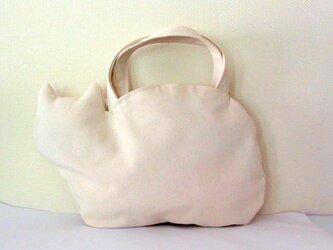*新作* 帆布のネコバッグ 白猫の画像