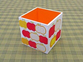 りんごのペン立て(水玉・橙)の画像