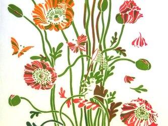 型染めてぬぐい「花の森のチョウ」(クリーム)(綿100%・手染め捺染)の画像