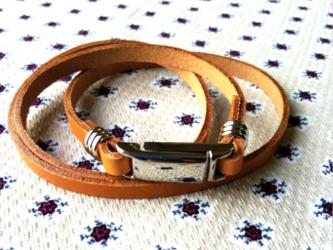 高級本革ブレスレット3巻き マグネット式留め具 ニッケルの画像