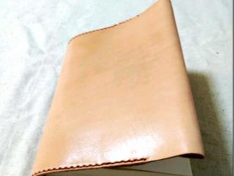 《名入れ刻印可》手縫い ヌメ革ブックカバー文庫サイズの画像