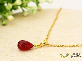 【再販2】7月誕生石 美しい 宝石質 ルビー Sサイズ プレーン 14kgf ネックレスの画像