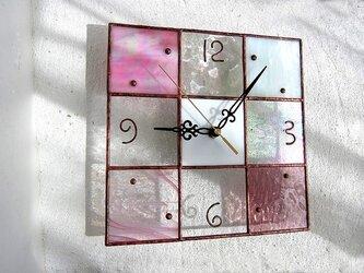 【24㎝×24㎝】ステンドグラス*掛時計・モザイクB(桜色)Lの画像