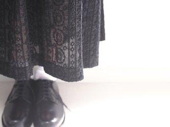 春夏 コットン レース 黒 花柄 ロングスカート ブラック 綿 フラワー ●ANGELA● S売切MLのみの画像