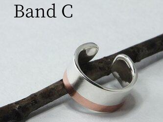 C-BandCW6 - 銀と銅帯のイヤーカフ 幅6mmの画像