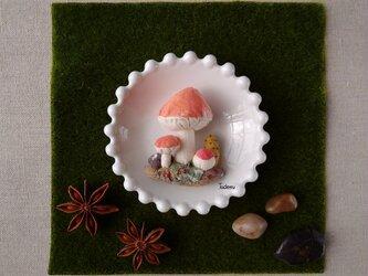 ジオラマ きのこブローチ アカIの画像