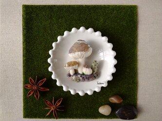 ジオラマ きのこブローチ チャの画像