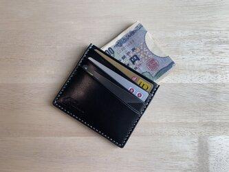 【新作】【選べる革とステッチ】紙幣も入るカードケース ミニマル財布【名入れ無料の画像