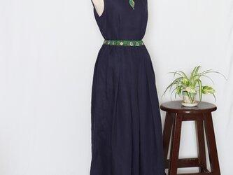 moda+リネン タックギャザーロングスカート(ネイビー)の画像