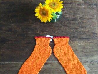 オレンジ&レッド★コットン100%★手編み靴下★ソックス★冷え対策★夏糸の画像