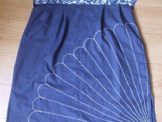 藍染刺し子のチュニック 木綿の画像