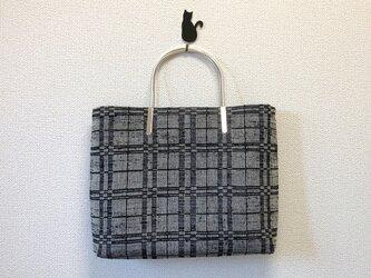 【訳ありセール】裂き織り キラキラなハンドバッグ シルバー持ち手☆ラメ☆の画像