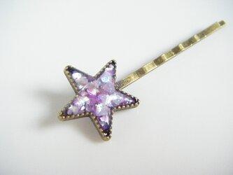 プレゼントにぴったり☆シェルとクランチホログラムたっぷりのお洒落なお星様のヘアピン(薄ピンク)の画像