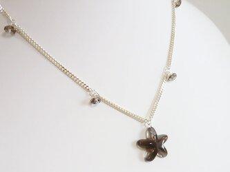 星のスモーキークォーツ シルバーネックレスの画像