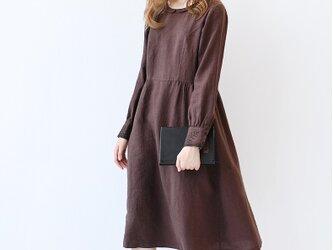【M】カフス刺繍入り丸小衿シンプルな長袖ワンピース♪の画像