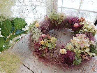 【SALE】2100円●スモークツリー&紫陽花「フラワーリース」ボルドーの画像