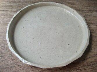 面取り 平型白皿の画像