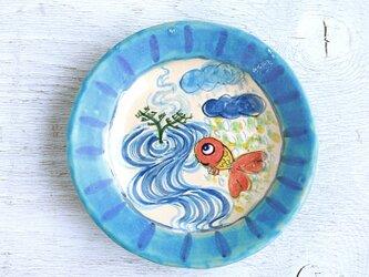 楽し気な金魚絵の丸い深皿(ターコイズ)の画像