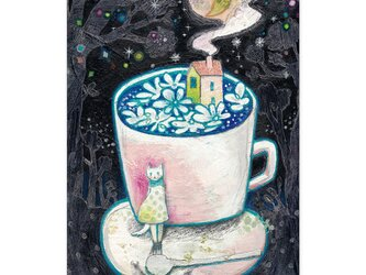 選べるポストカード/2枚セット『No.260 月と珈琲-シロハナ-』の画像