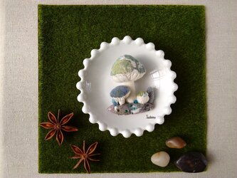 ジオラマ きのこブローチ ミドリの画像