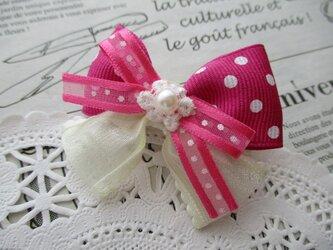 ★りぼん★ ピンクドットとオーガンジーリボンのヘアクリップの画像