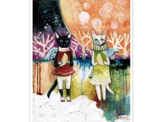 選べるポストカード/2枚セット『No.177 双子猫のカフェⅠ』の画像