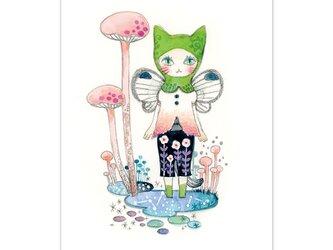 選べるポストカード/2枚セット『No.264 萌緑のフードの猫Ⅱ』の画像