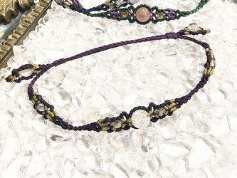 新色追加!天然石のマクラメ編みアンクレット【レース】パープル系・クラッククォーツの画像