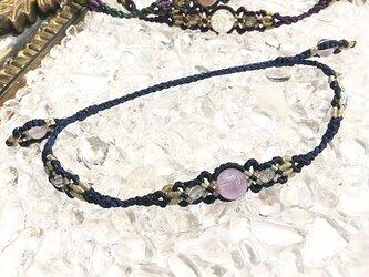 新色追加!天然石のマクラメ編みアンクレット【レース】ネイビー系・アメジストの画像