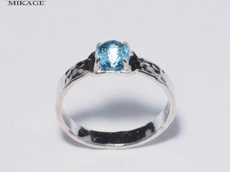 Bubble Ring:槌目銀925ブルートパーズリングの画像