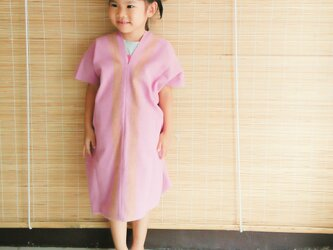セール価格!タイの草木染め&手織りワンピース/ ピンク ライン/ キッズ/ コットンの画像