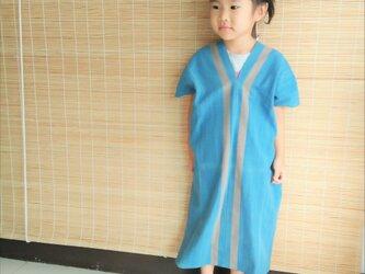 セール価格!タイの草木染め&手織りワンピース/ 藍色 ライン/ キッズ/ コットンの画像