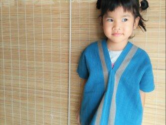 セール価格!タイの草木染め&手織りトップス/ 藍色 ライン/ キッズ/ コットンの画像