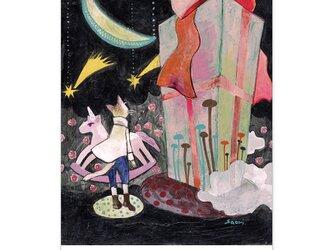 選べるポストカード/2枚セット『No.218 花咲く道の猫-夜の贈り物』の画像