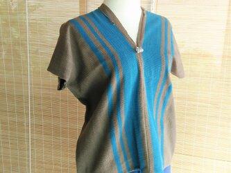 タイの草木染め&手織り ストライプ柄トップス ブラウン(送料無料、コットン)の画像