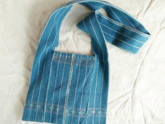 セール価格!カレン族の手織り&藍染めバッグM/ 草木染め インディゴ/ 手縫い/ ショルダーバッグ/ 冒険バッグの画像