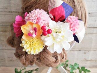 艶姫 銀杏形リボンとマムの髪飾り9点Set No579の画像