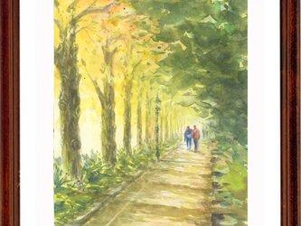 水彩画原画 いちょうの並木道の画像