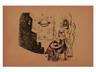 選べるポストカード/2枚セット『No.246 旅猫と星と珈琲-6番街土星通り』の画像