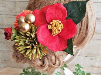 花雅 真っ赤な江戸椿とマムの和モダン髪飾り5点Set No581の画像