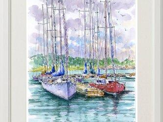 水彩画原画 ヨットハーバー 11の画像
