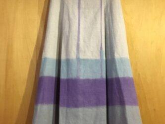 ▪️現品限り▪️麻のロングタックスカート*裾に雫が流れ三つの重なりの画像
