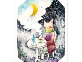 選べるポストカード/2枚セット『No.271 夜を聴く-三日月森で-』の画像