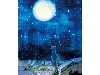 選べるポストカード/2枚セット『No.250 月を見ている猫』の画像