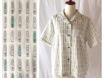 【肌ざわり至上主義】ダブルガーゼのレディスアロハシャツ(ラムネ:クリーム×マルチ)の画像
