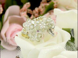 光輝く花々のコスチュームリング(スワロフスキー・ライトアゾレゴールドシャドウ ビーズリング)《ビーズアクセサリー》の画像