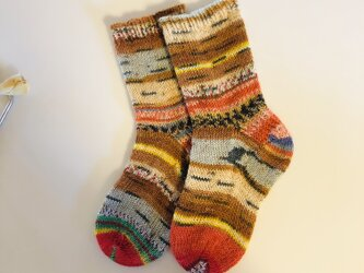 No.133料込手編み靴下 季節外れのトナカイの画像