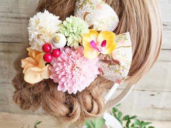 艶姫 銀杏形リボンとマムの髪飾り9点Set No582 浴衣 お祭りの画像